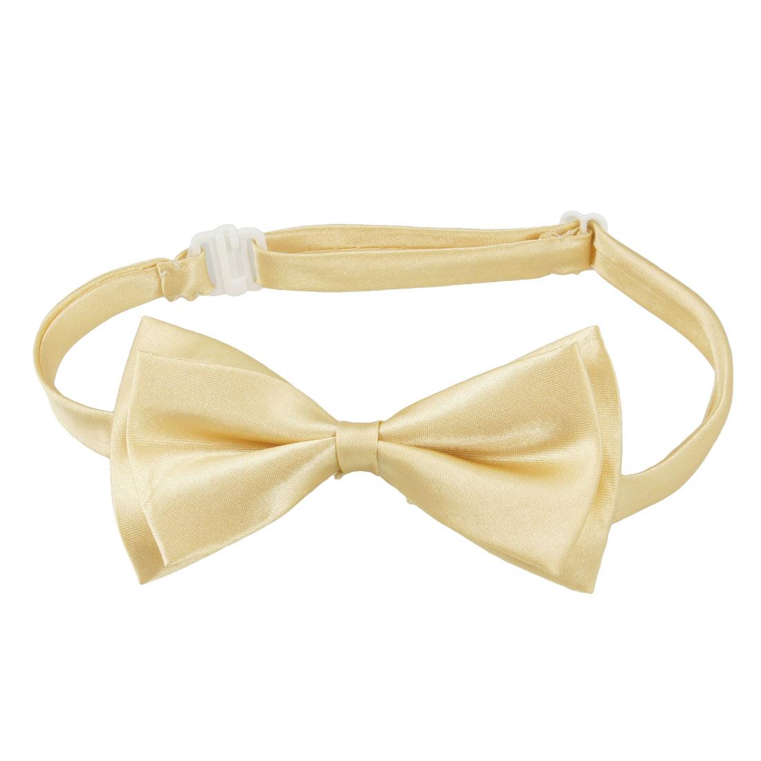 Men Khaki Double Layers Polyester Bowknot Adjustable Bowtie