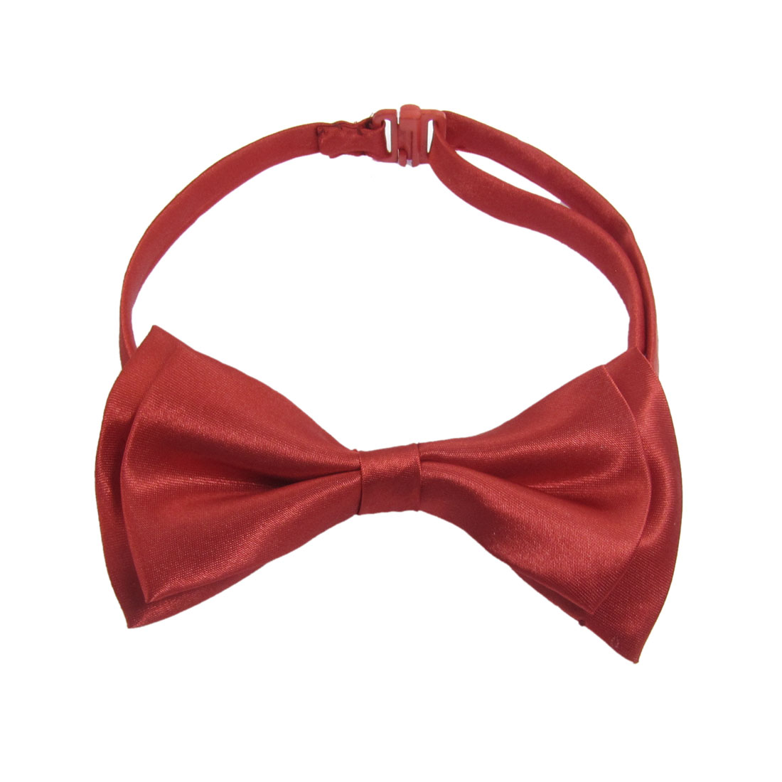 Women Red Two Layer Nylon Bowknot Plastic Buckle Bow Tie
