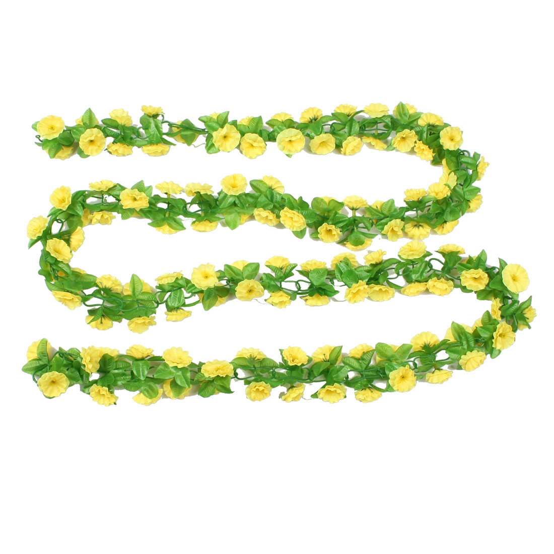 Fabric Leaves Yellow Hanging Artificial Flower Vine Wedding Party Decor 94""