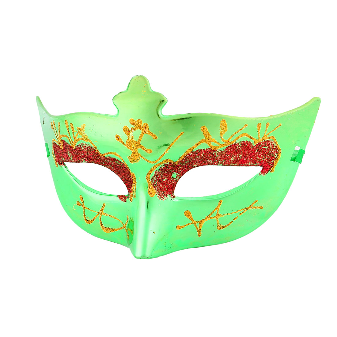 Red Gold Tone Powder Decor Green Plastic Fancy Party Eye Mask