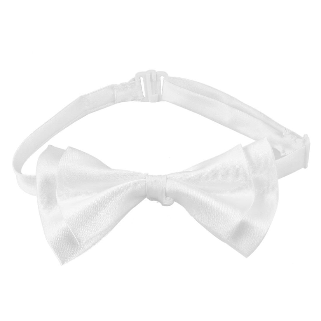 Men White Double Layers Adjustable Neck Strap Pre-tied Bowtie