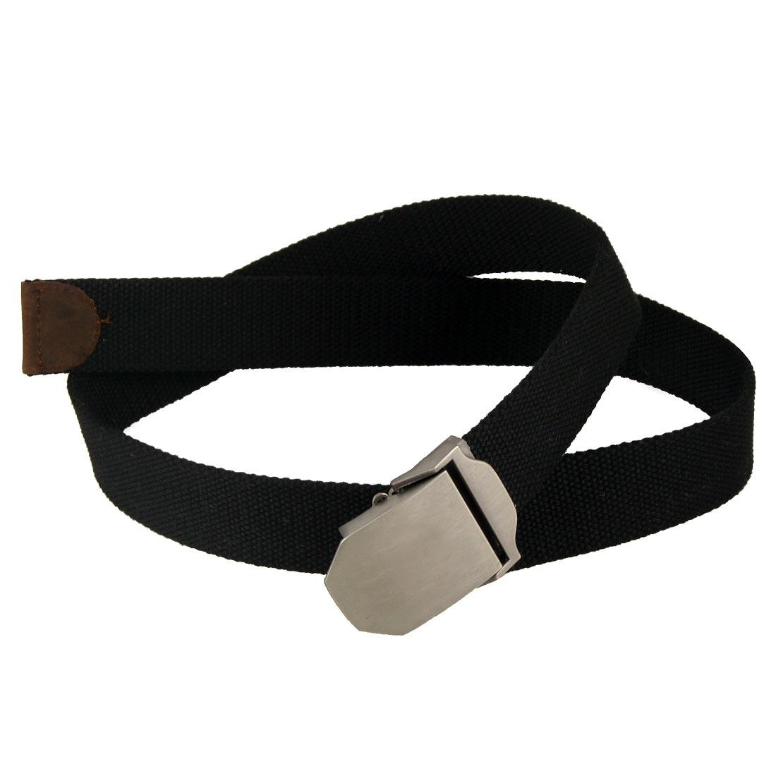 Man Metal Clip Buckle Black Military Canvas Jeans Belt
