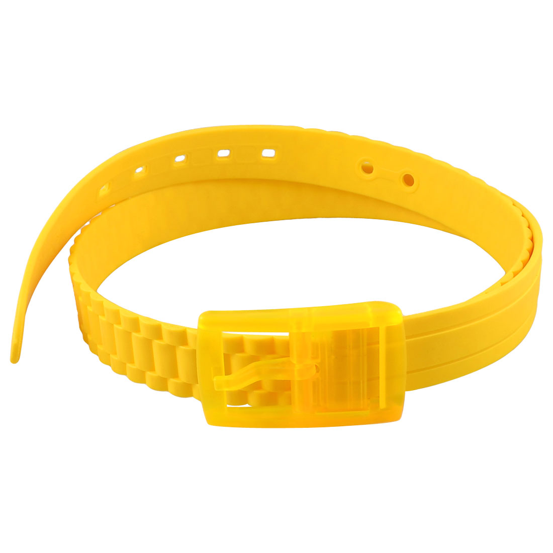 Single Prong Buckle Yellow Plastic Scented Trousers Belt for Lady