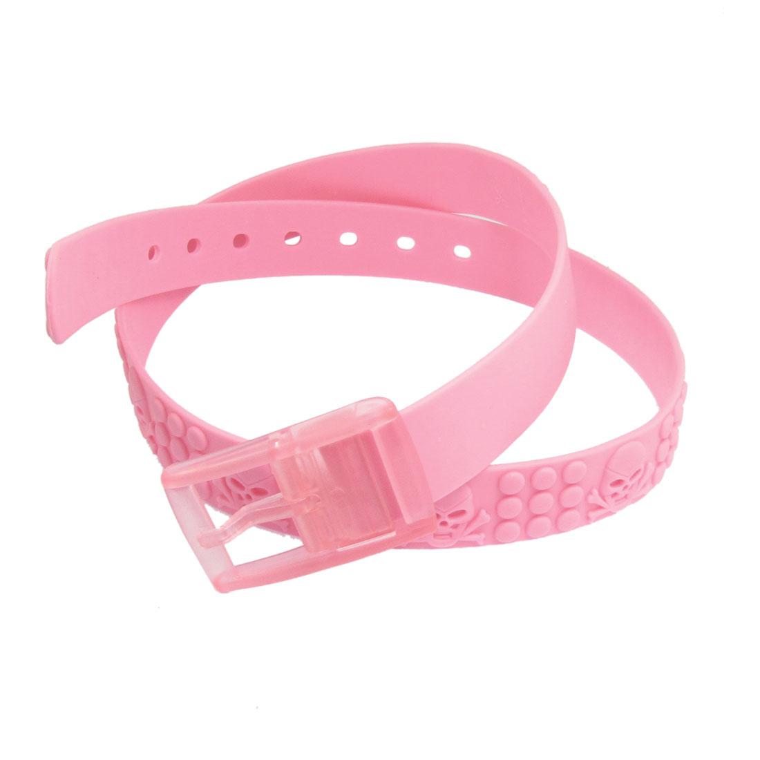 """Women 1.3"""" Pink Skull Pattern Plastic Detachable Buckle Waist Belt"""