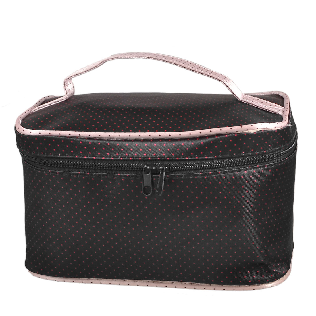 Lady Red Dots Print Zip up Powder Brush Holder Cosmetic Bag