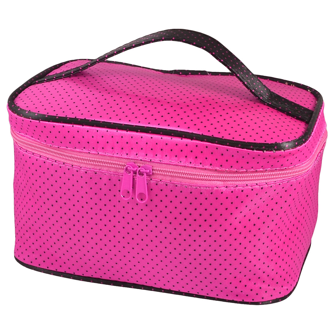 Dot Pattern Fuchsia Zipper Cosmetic Bag w Hand Strap