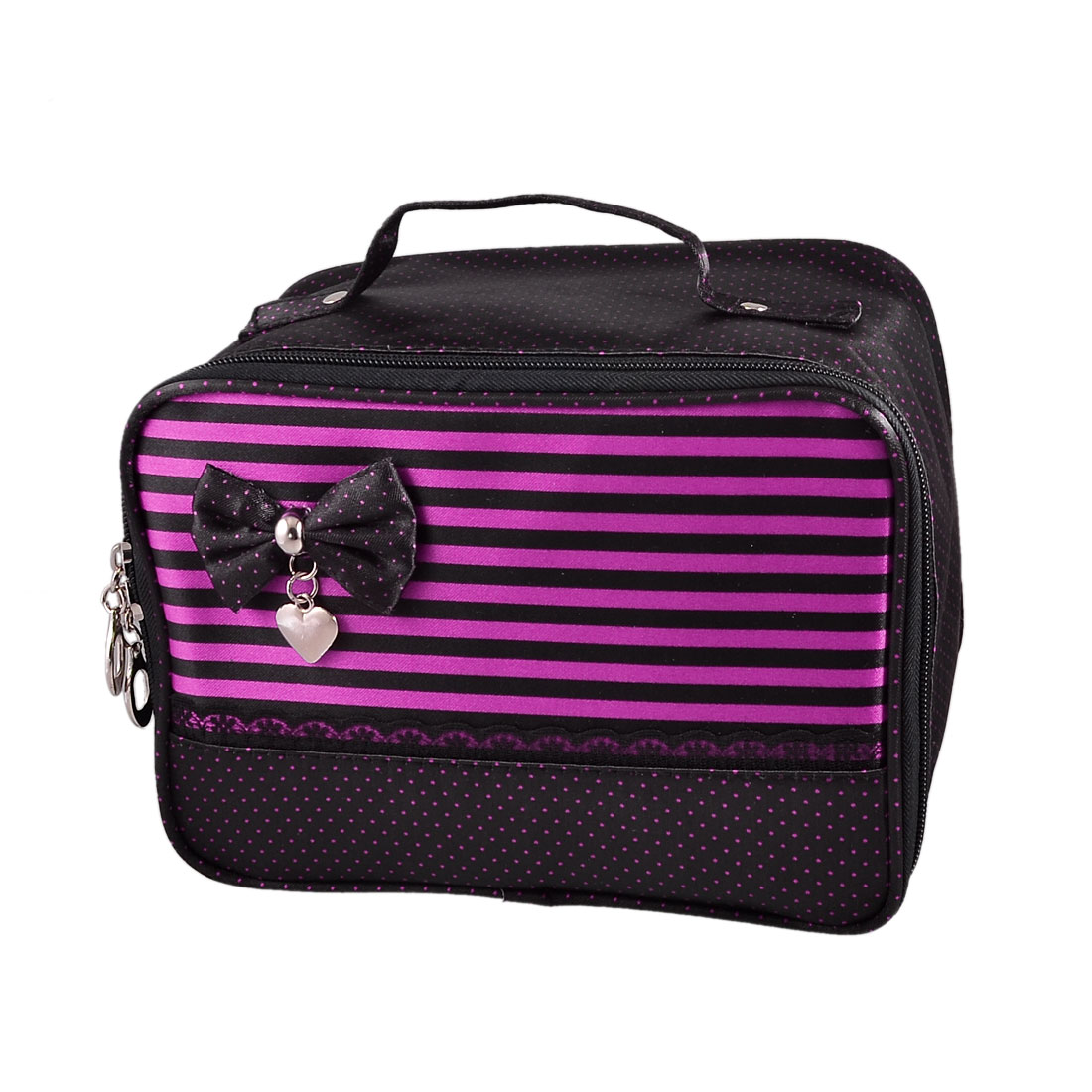 Ladies Bowknot Accent Dots Print Black Zip up Cosmetic Bag Powder Brush Holder