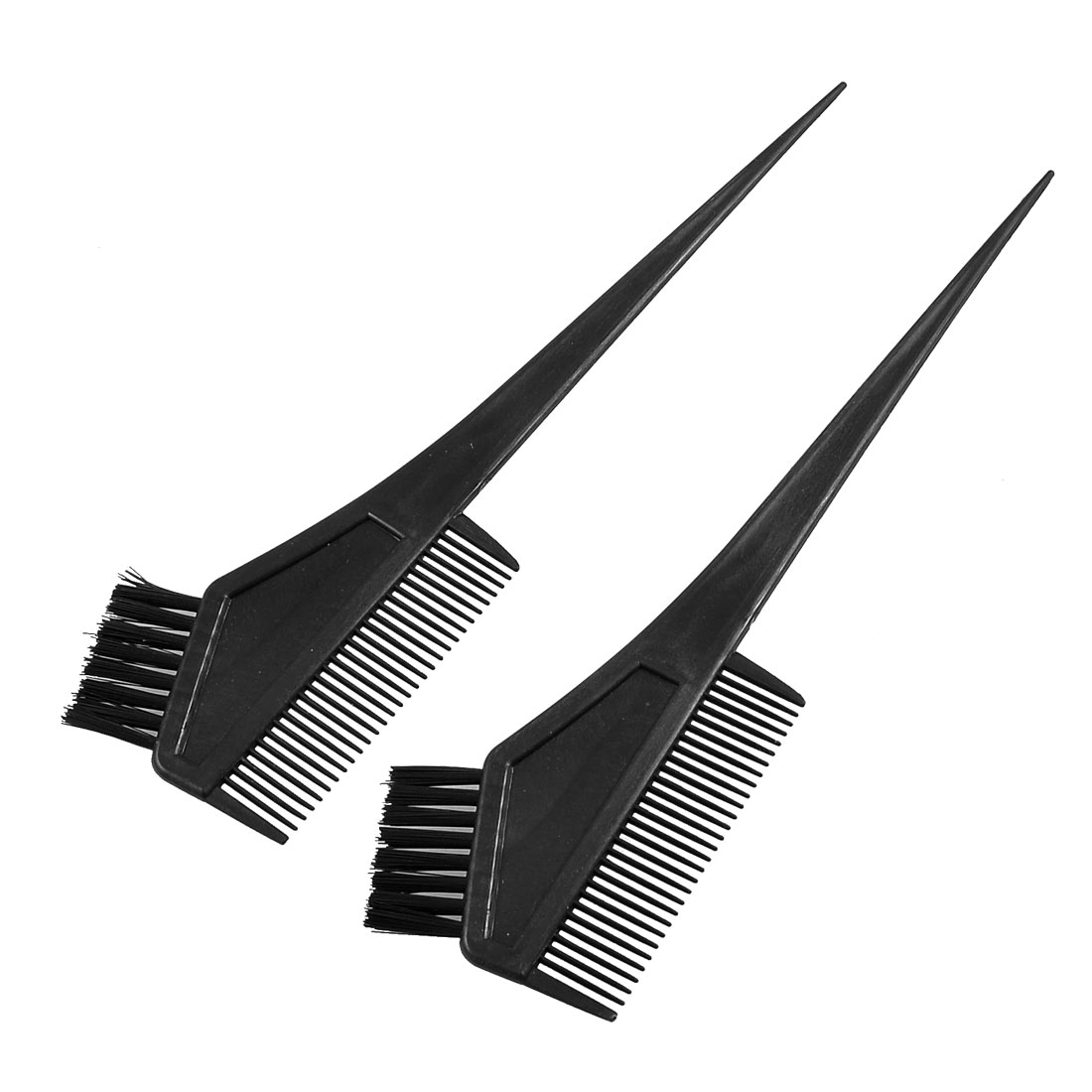 Plastic Straight Bristle Synthetic Hair Dye Tint Color Coloring Brush Comb Black 2 Pcs