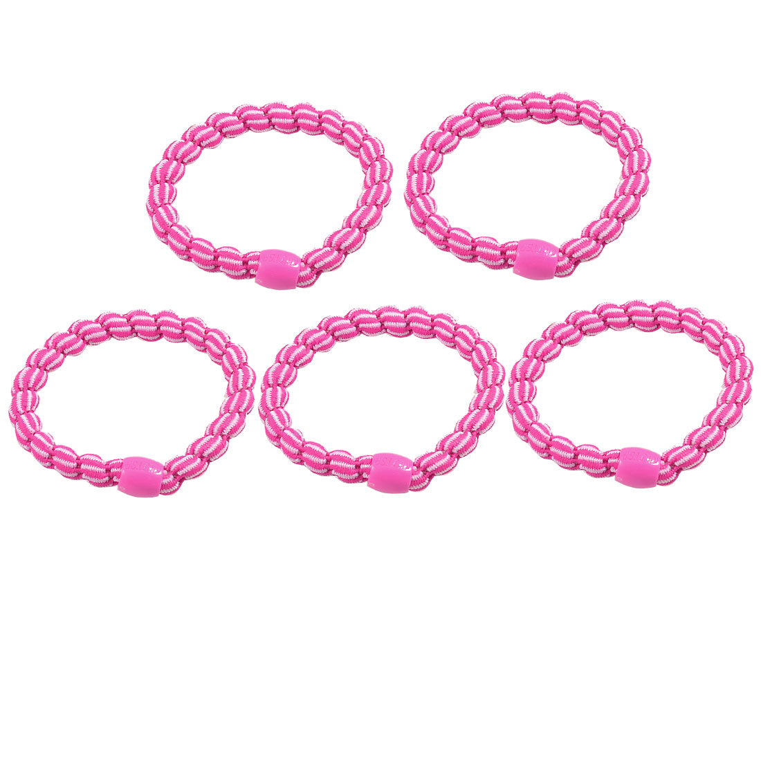 5 Pcs Plastic Bead Accent Fuchsia Elastic Bands Hair Ties Ponytail Holders
