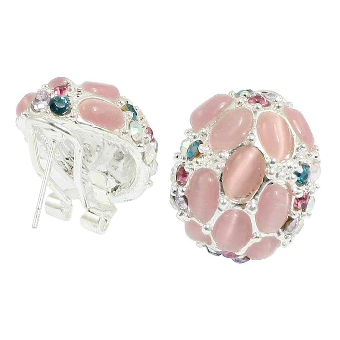 Pink Plastic Crystal Decor Earbob Metal Clip Earrings Pair for Women