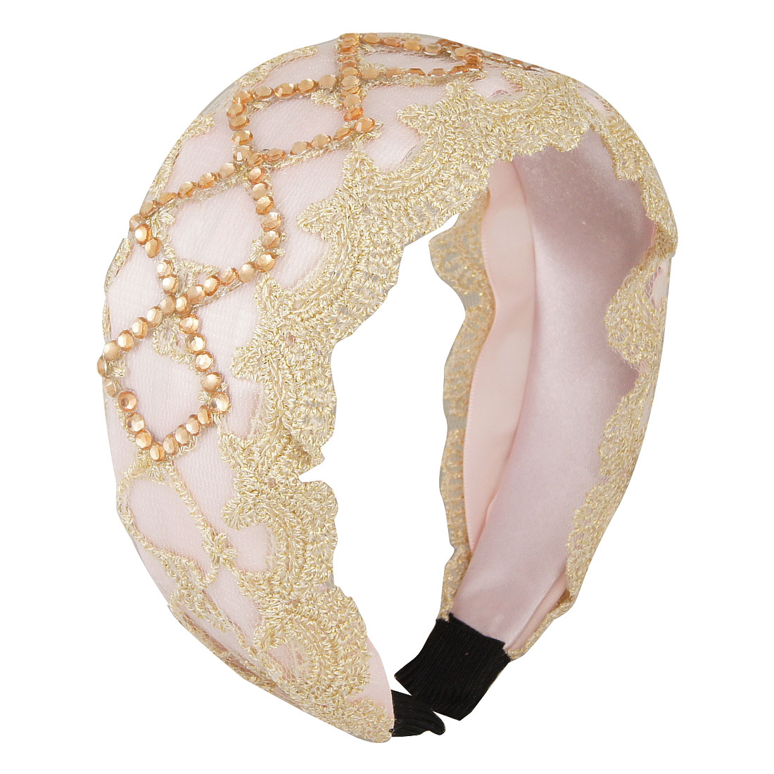 Girls Glittery Faceted Beads Decor Floral Lace Embellish Light Pink Head Band