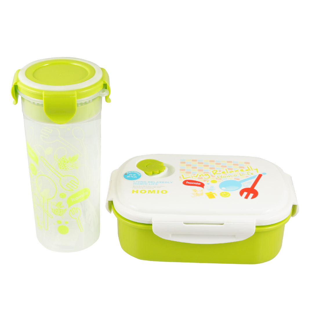 3 in 1 Package Traveling Water Holder Plastic Spoon Green White Lunch Box Set