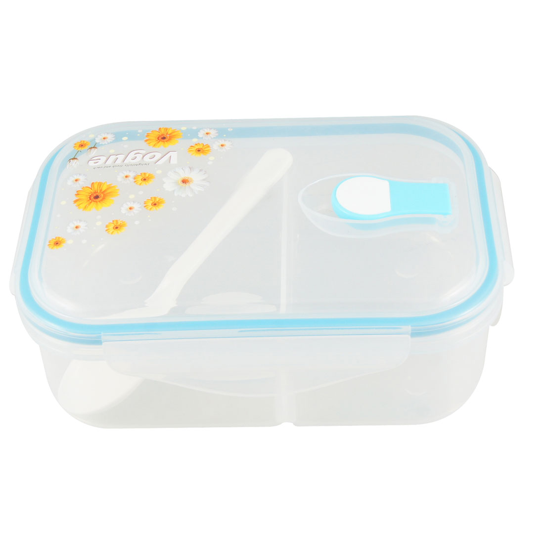 Chrysanthemum Flowers Print Plastic Blue Clear 2 Compartments Lunch Box w Spoon