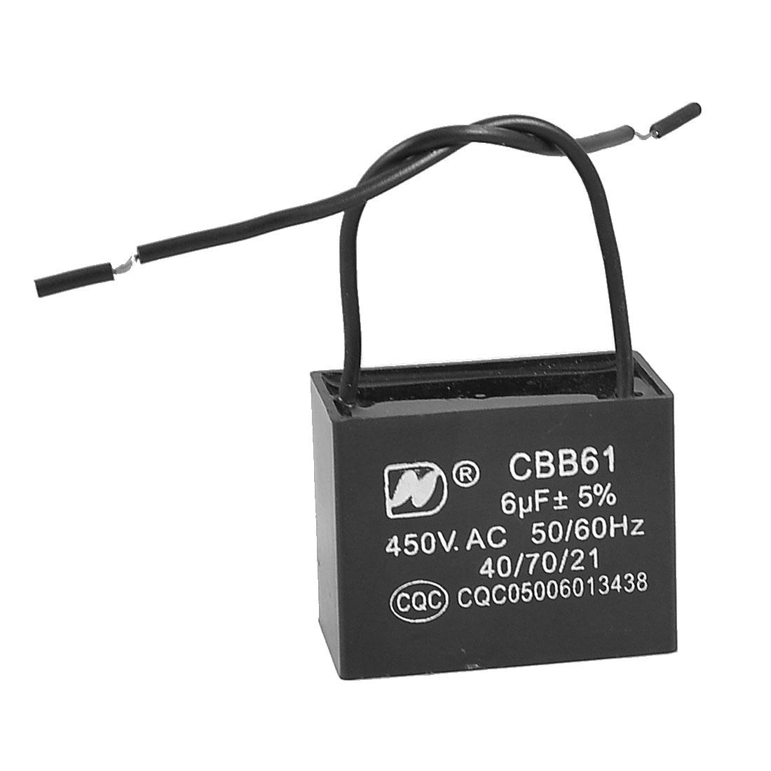 CBB61 Metalized Polypropylene Film Motor Run Capacitor AC 450V 6uF