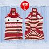 Bowknot Striped Dog Tank Top Dress Puppy Pet Apparel White Red L