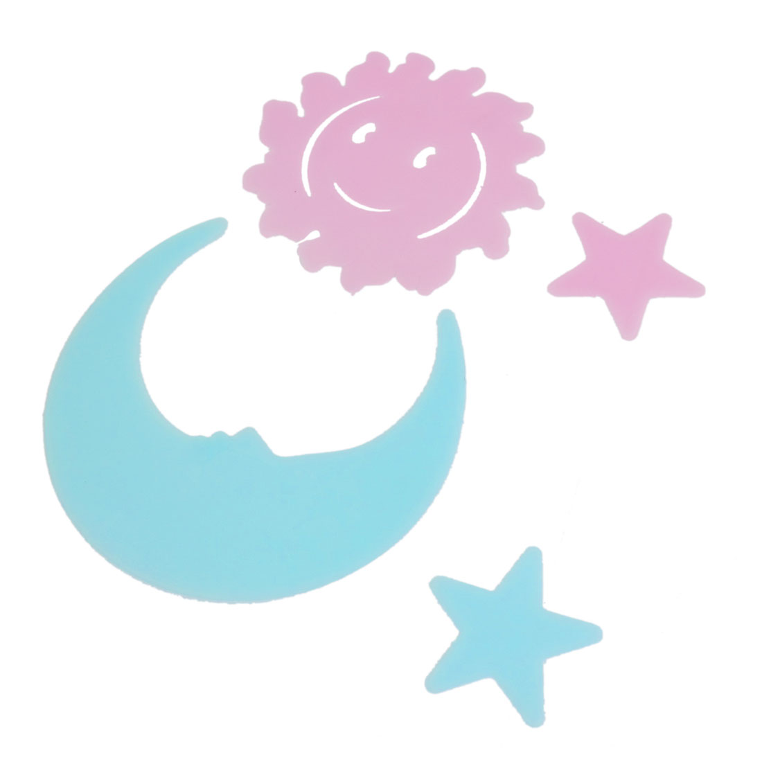 4 Pcs Room Decor Blue Pink Star Sun Moon Shape Fluorescent Sticker