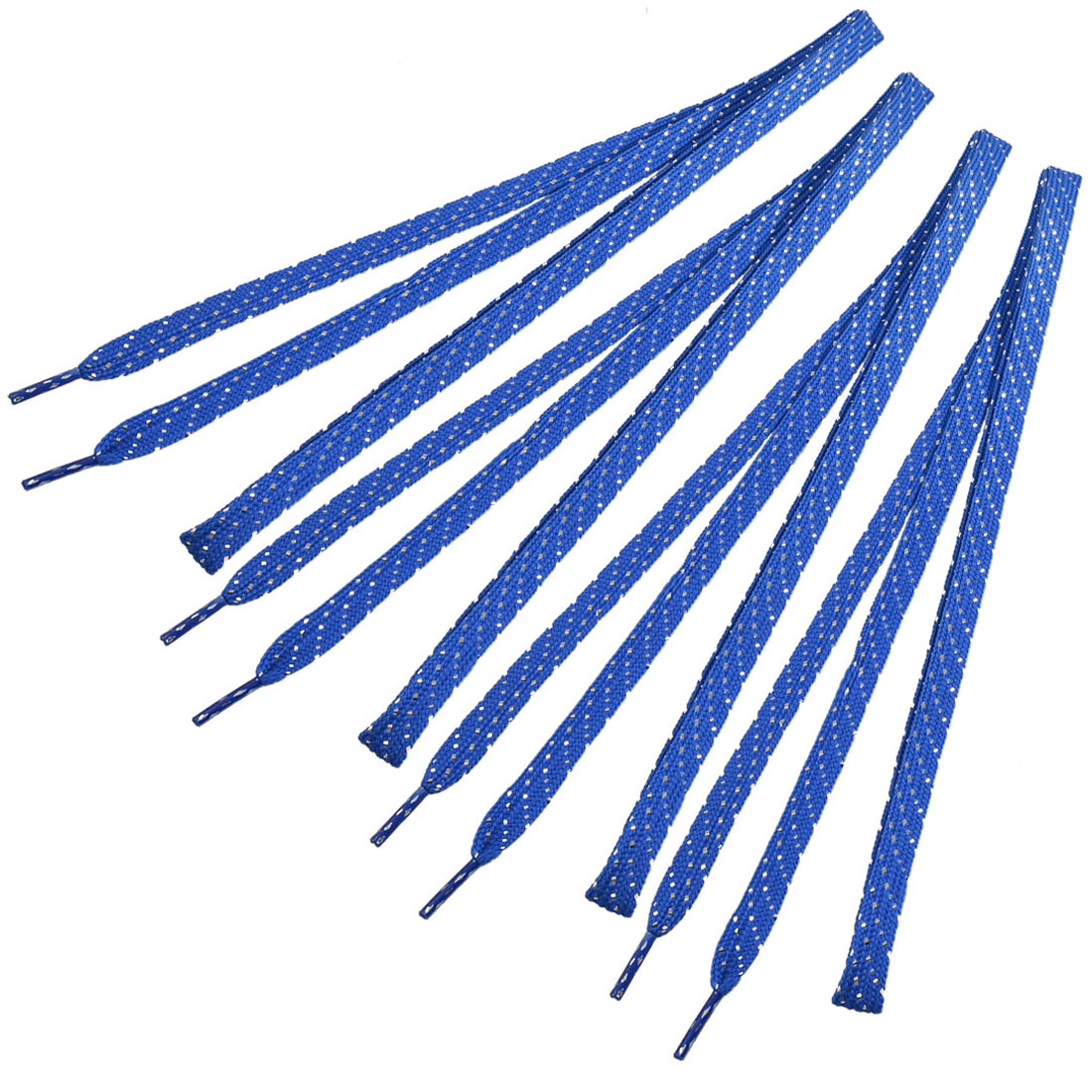 Silver Tone Thread Decorated Sport Sneakers Flat Shoelaces Blue 2 Pairs