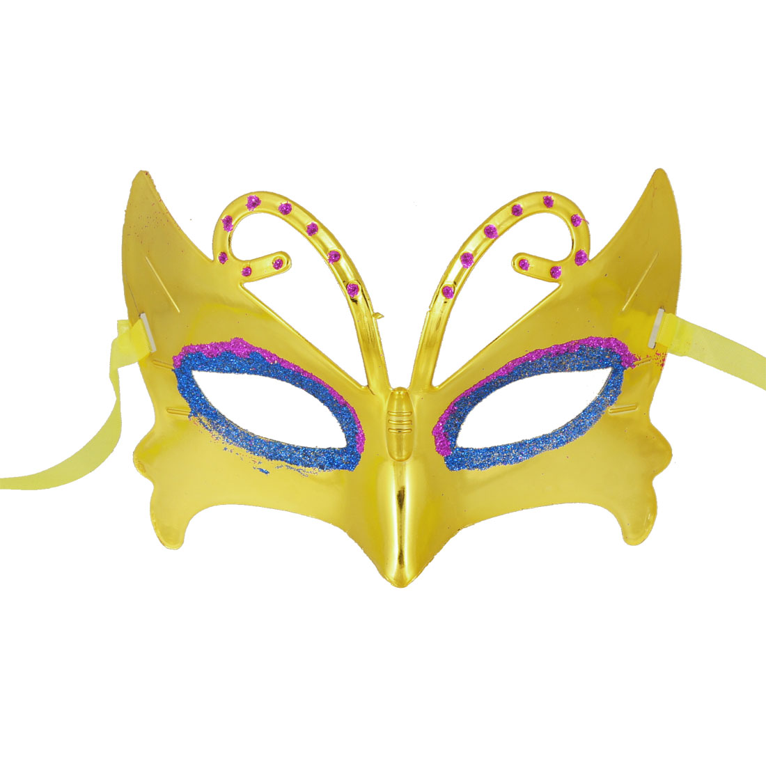 Purple Powder Eyes Yellow Plated Plastic Rhinestone Detail Half Face Mask
