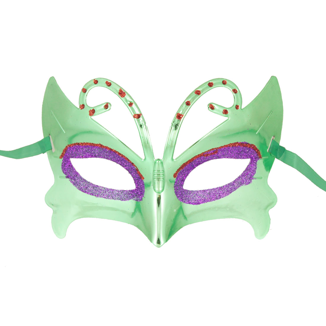Purple Red Powder Eyes Green Plated Plastic Rhinestone Decor Half Face Mask