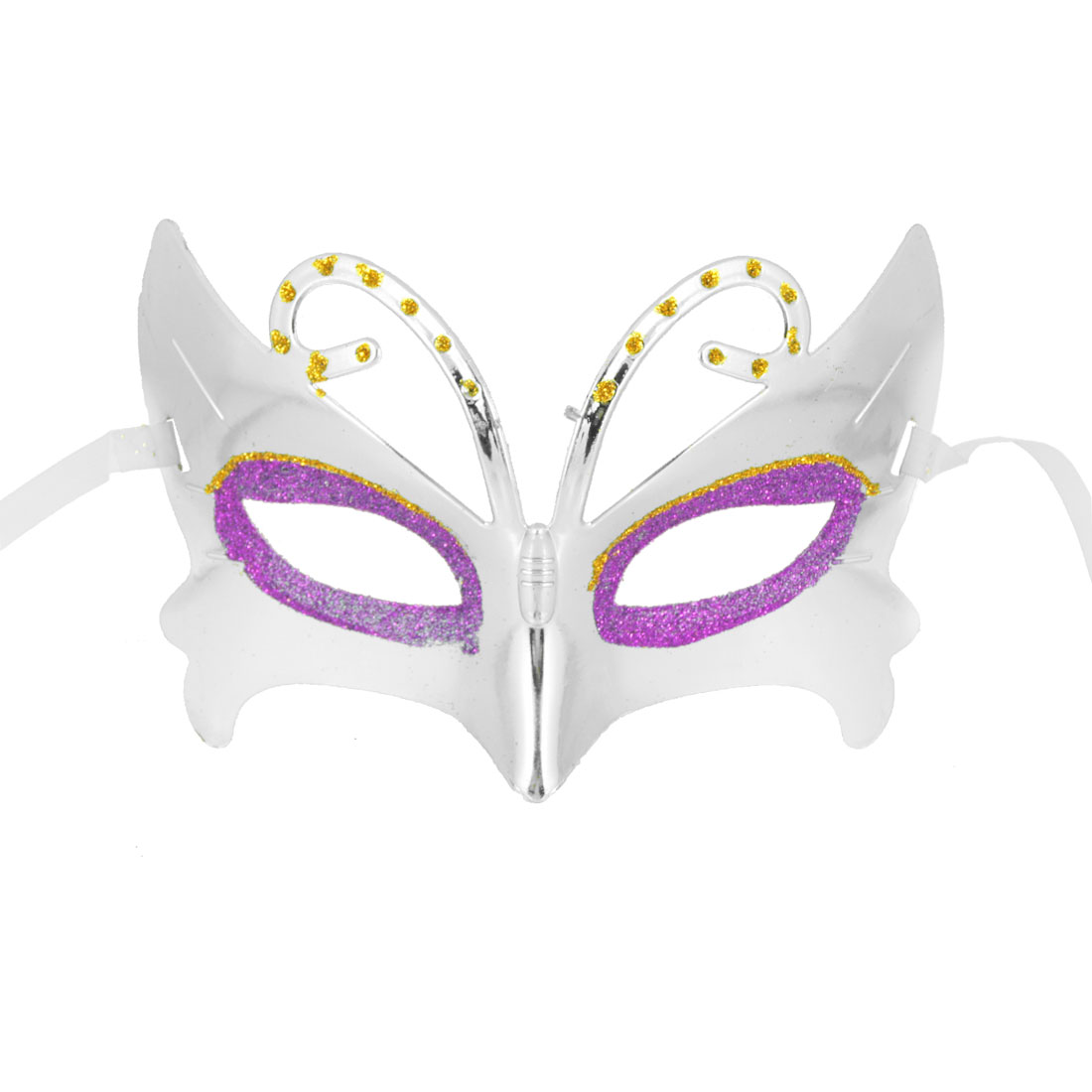 Rhinestone Detail Halloween Masquerade Self Tie Band Plastic Face Mask Silver Tone