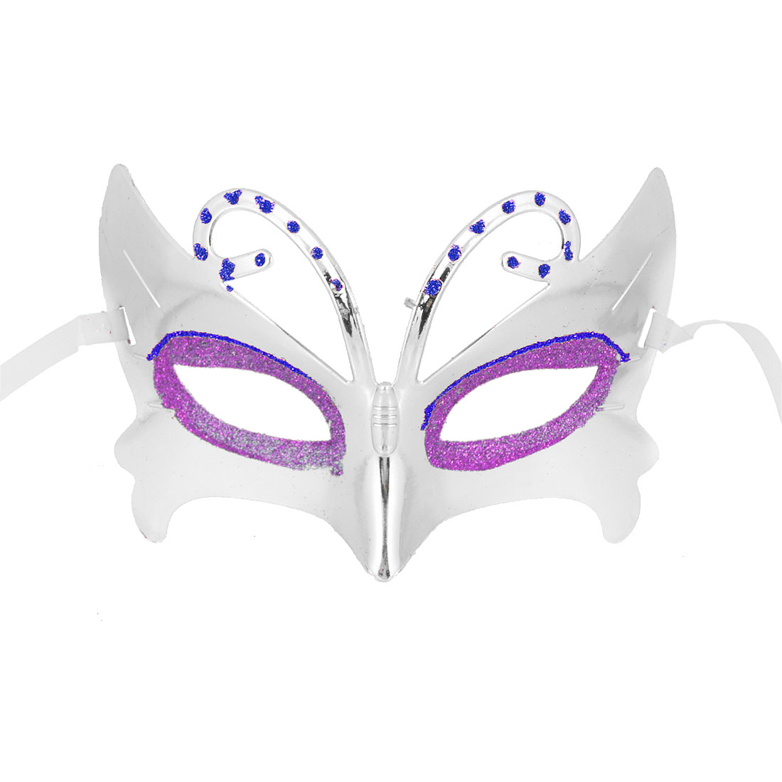 Blue Rhinestone Inlaided Halloween Masquerade Plastic Face Mask Silver Tone