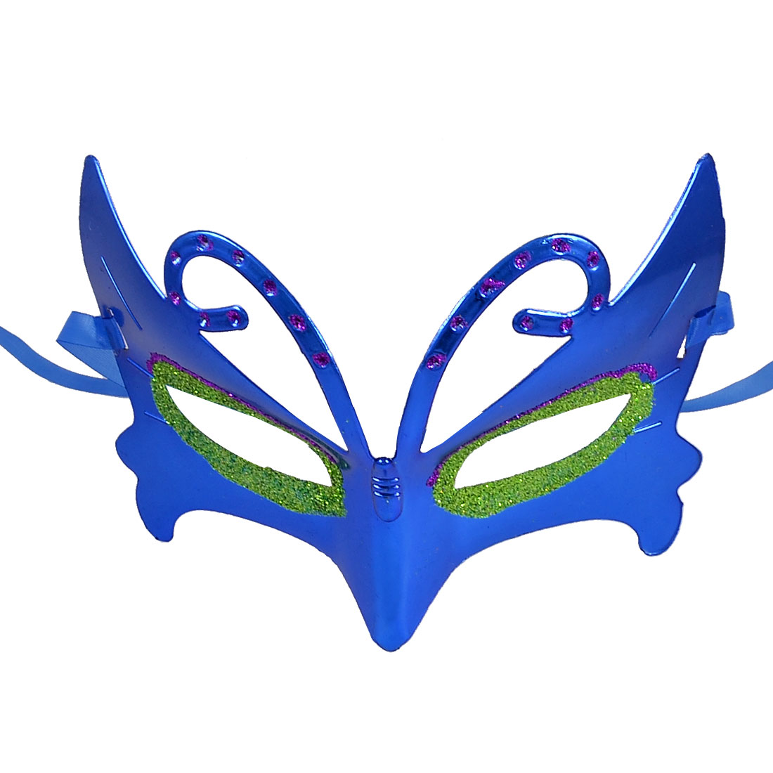 Green Purple Glitter Powder Adorned Ribbon Band Masquerade Party Mask Blue