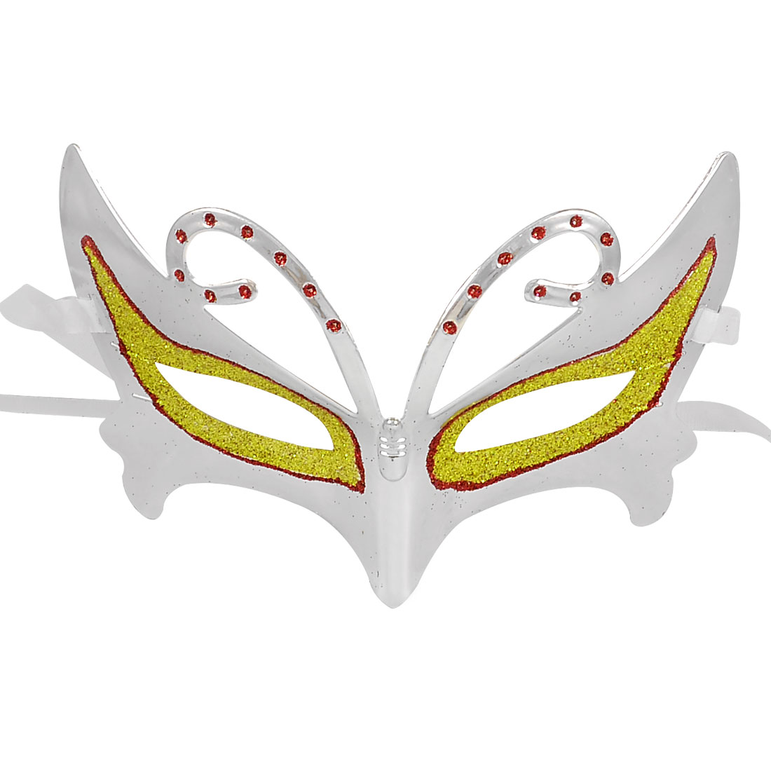 Gold Tone Red Glitter Powder Detail Self Tie Masquerade Mask Silver Tone