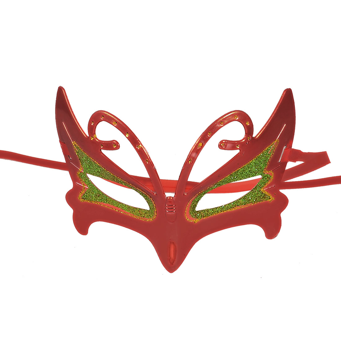 Green Gold Tone Glitter Powder Decor Self Tie Ribbon Carnival Party Mask Red