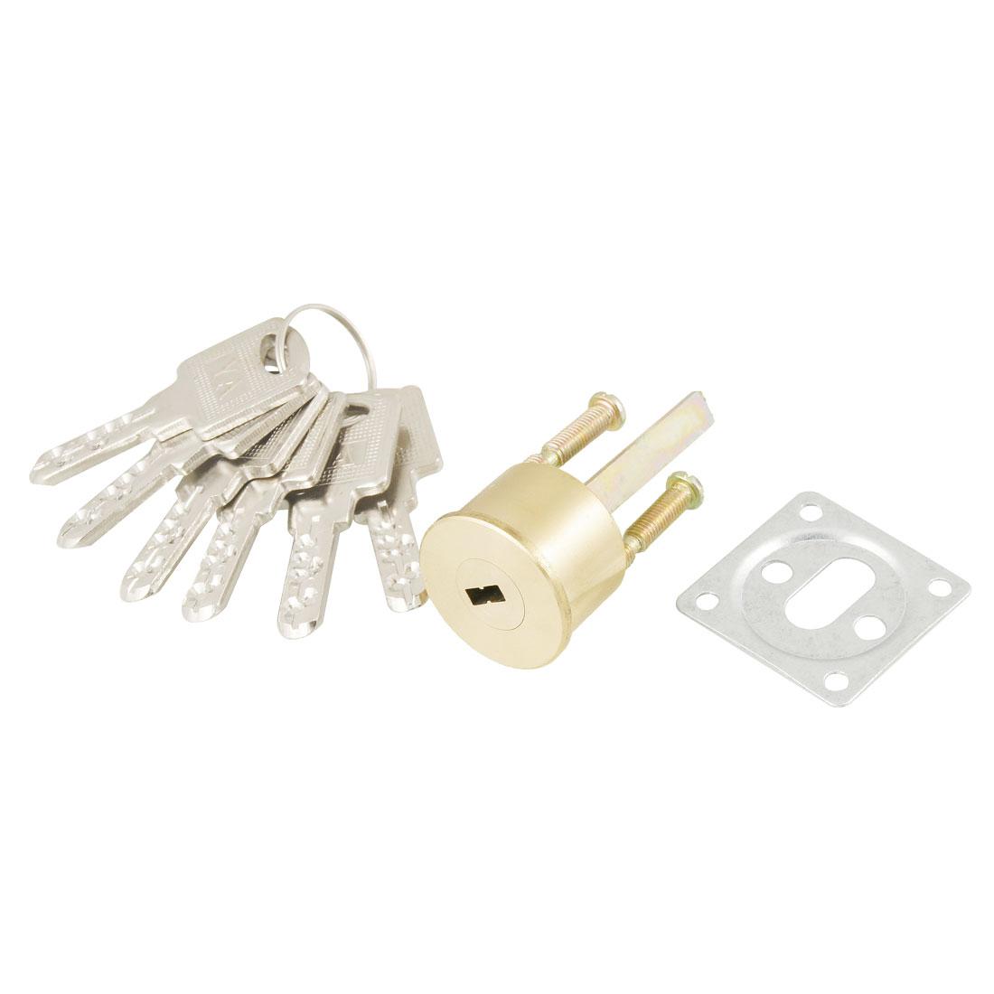Home Brass Screw Gold Tone Security Door Lock w 6 Metal Keys
