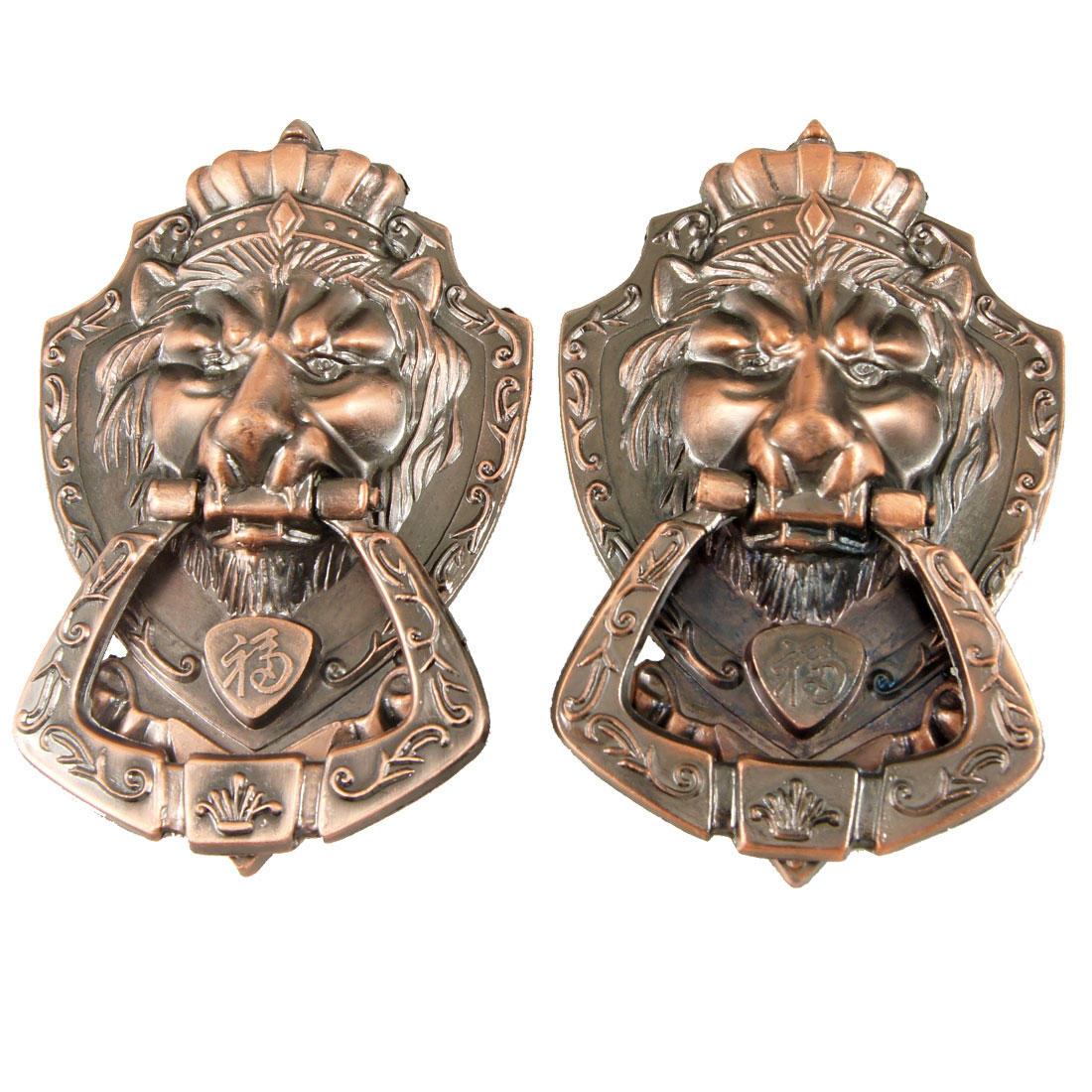 Antique Style Copper Tone Metal Lion Head Design Pull Handle 2 Pcs