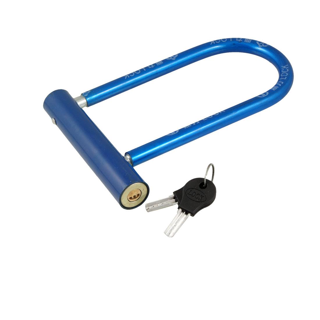 "Motorbike Motorcycle Blue Plastic Cover Safeguard U Shape Lock 7.7"" w Keys"