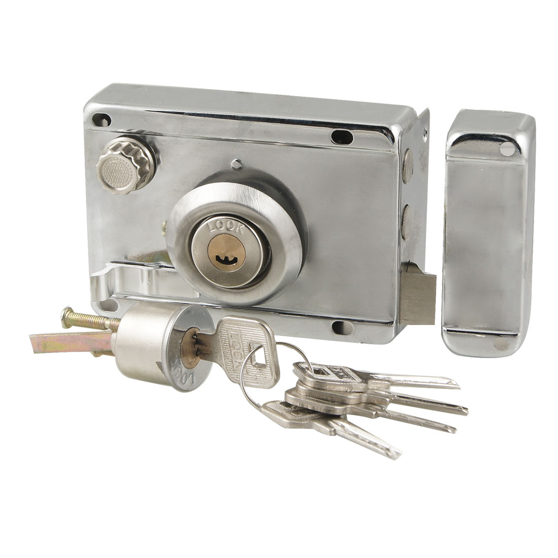 Office Silver Tone Left Hand Door Deadbolt Rim Lock w 5 Metal Keys