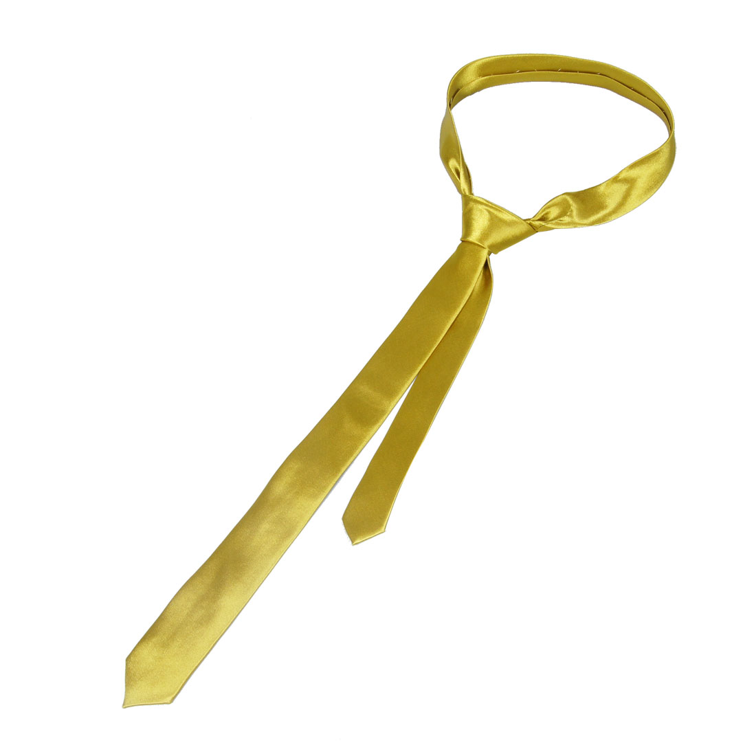 Neck Detail 5cm Wide Self Tie Skinny Necktie Gold Tone for Woman