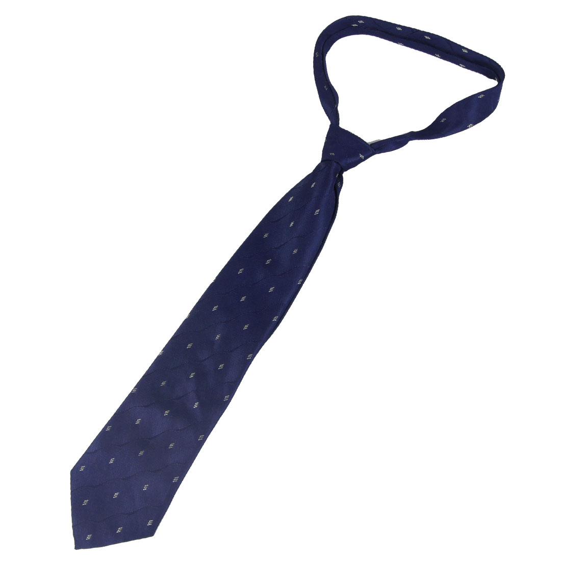 10cm Wide White Geometric Prints Dark Blue Polyester Self Tie Necktie for Men
