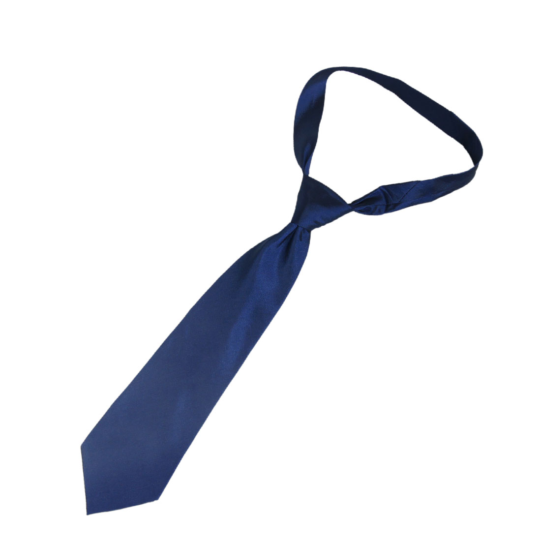 "Neck Detail 59"" Long Pure Pattern Dark Blue Cotton Polyester Neck Tie for Man"