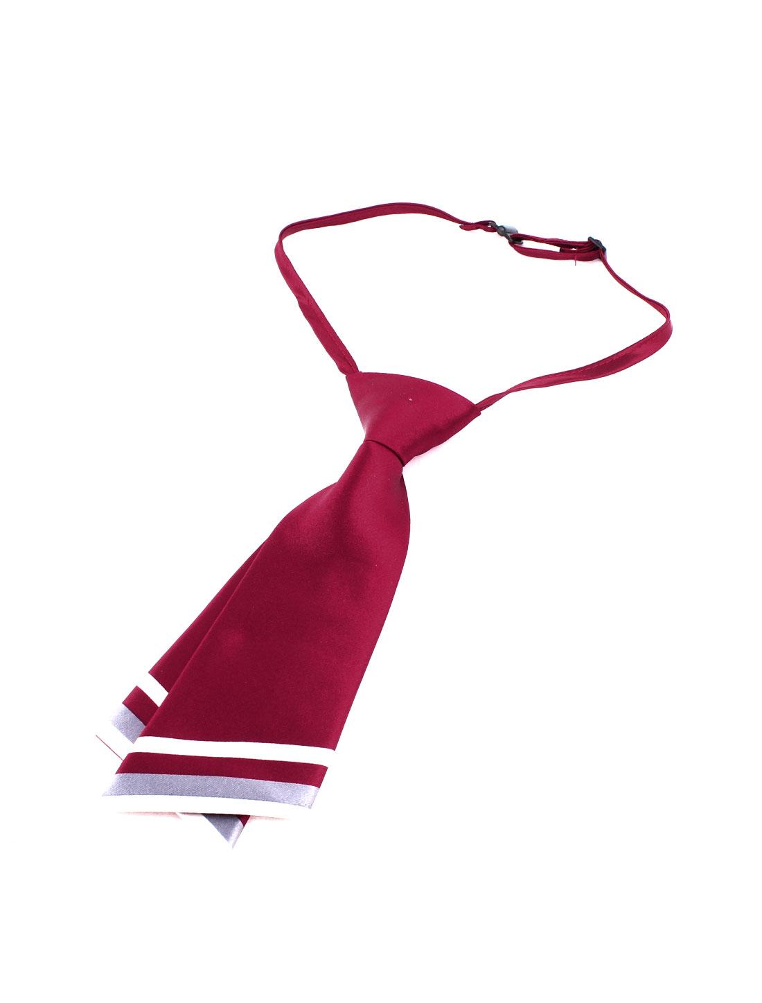 White Gray Diagonal Stripe Hem Pre-tied Double Layer Necktie Red for Girls