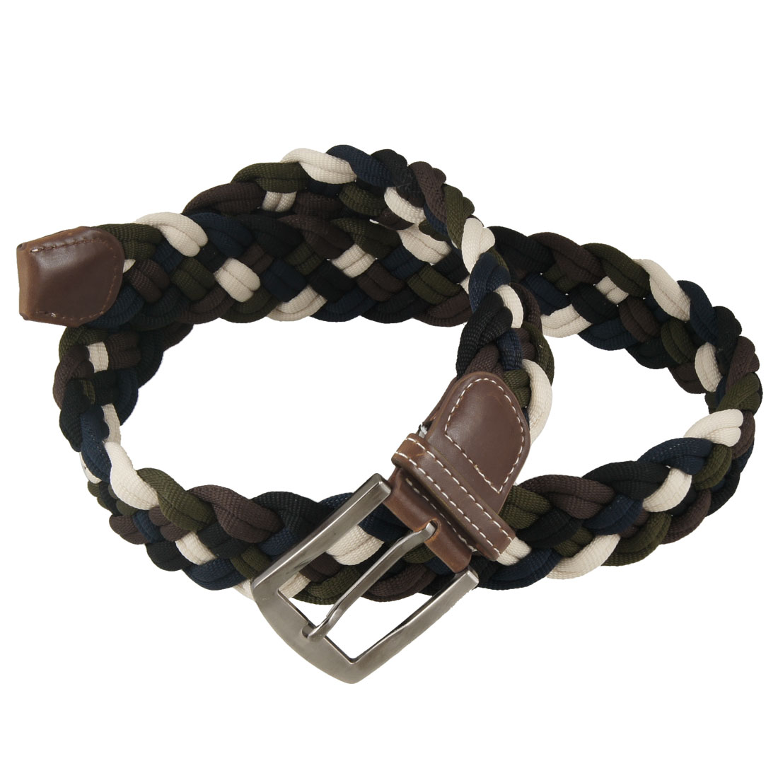 4cm Width Metal Single Pin Buckle Beige Black Polyester Braided Belt for Lady