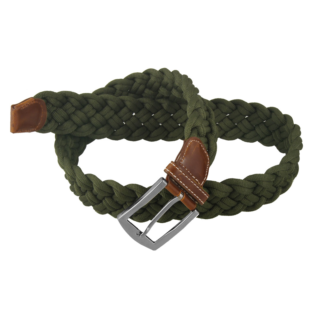 4cm Width Metal Single Pin Buckle Army Green Polyester Weave Belt for Women