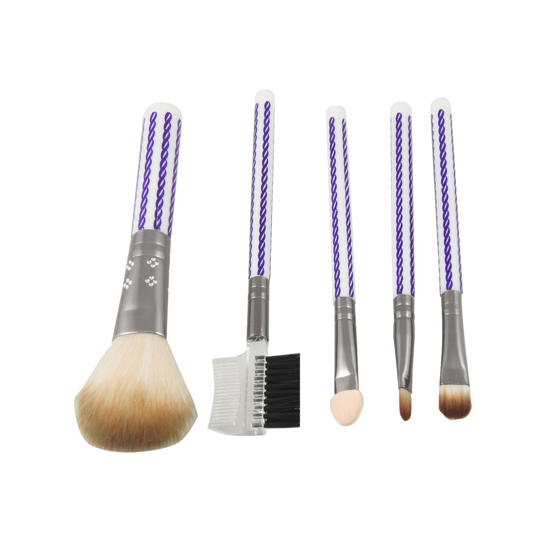 Purple White Stripes Handle 5 in 1 Makeup Tool Set Blusher Brush Eyebrow Comb