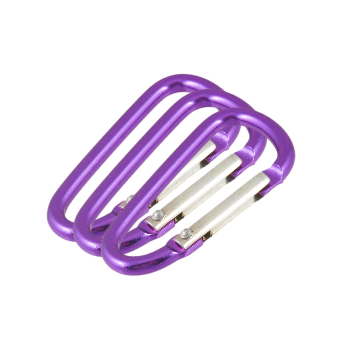D Shape Purple Aluminum Alloy Carabiner 3 Pcs
