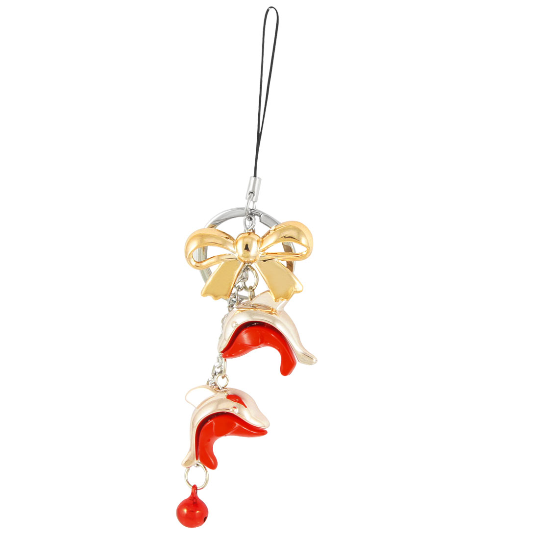 Silver Tone Red Fish Shape Cell Phone Pendant Hook Strap