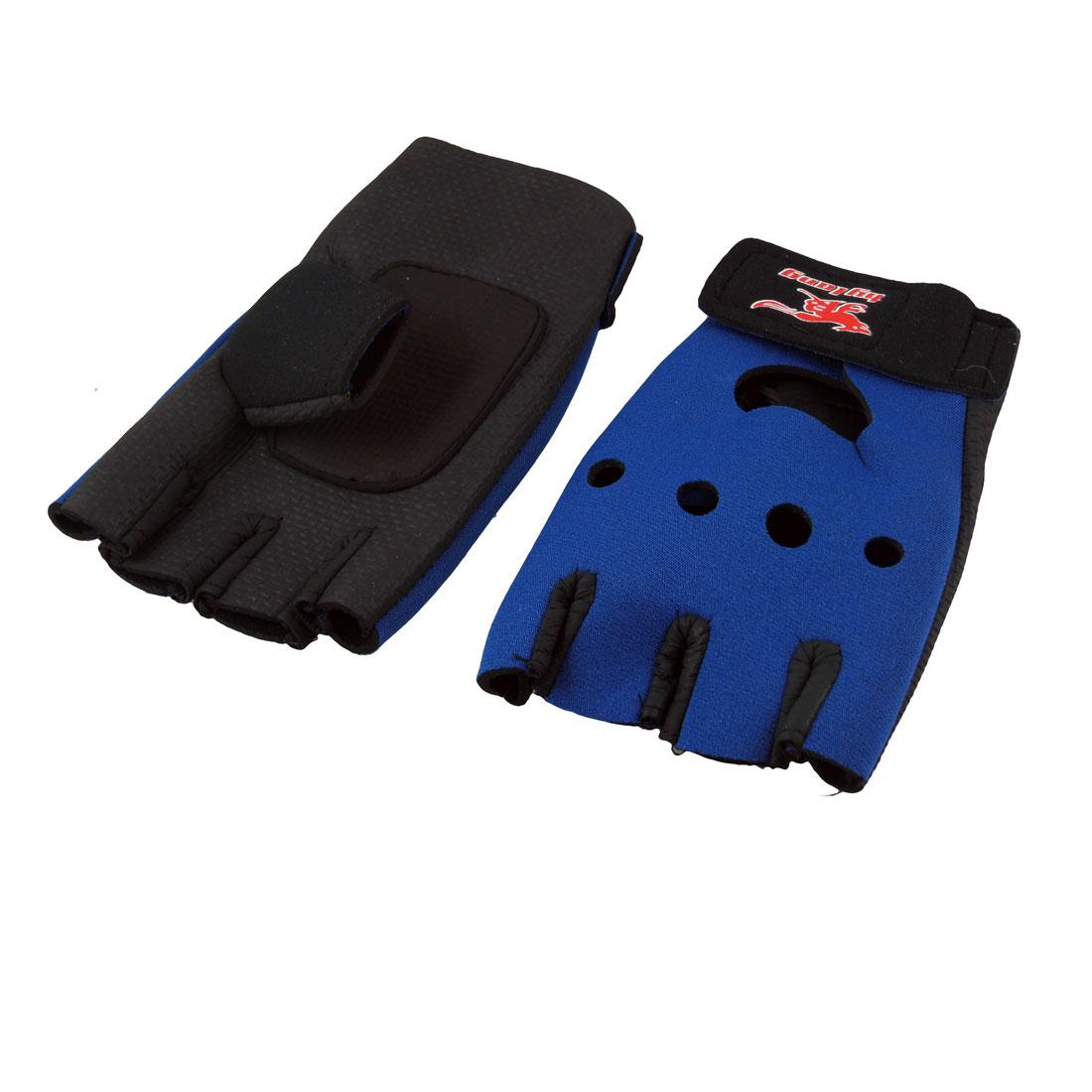 Hook Loop Fastener Black Blue Neoprene Driving Sport Gloves for Ladies