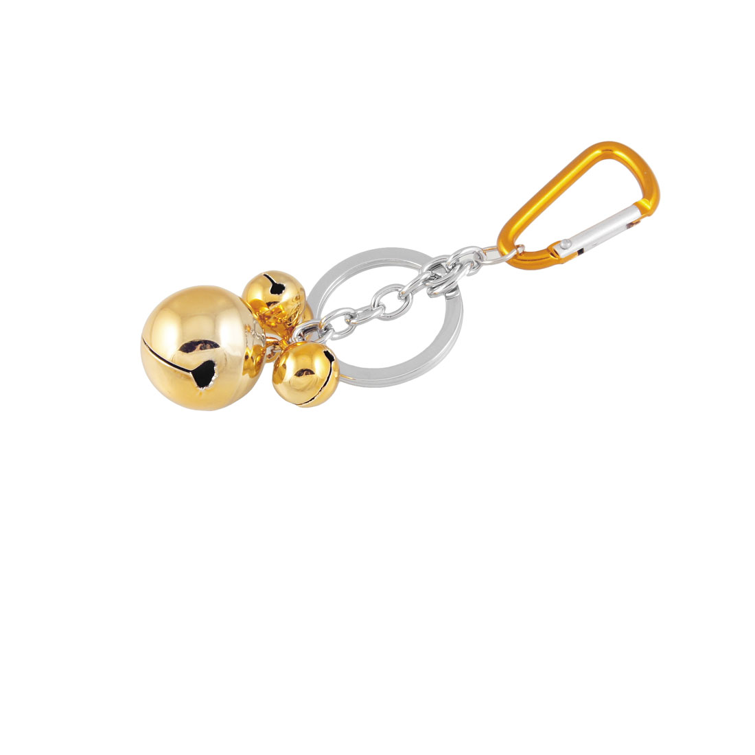 Gold Tone 3 Bells Pendant Decor Mini Carabiner Hook Key Chain Keyring
