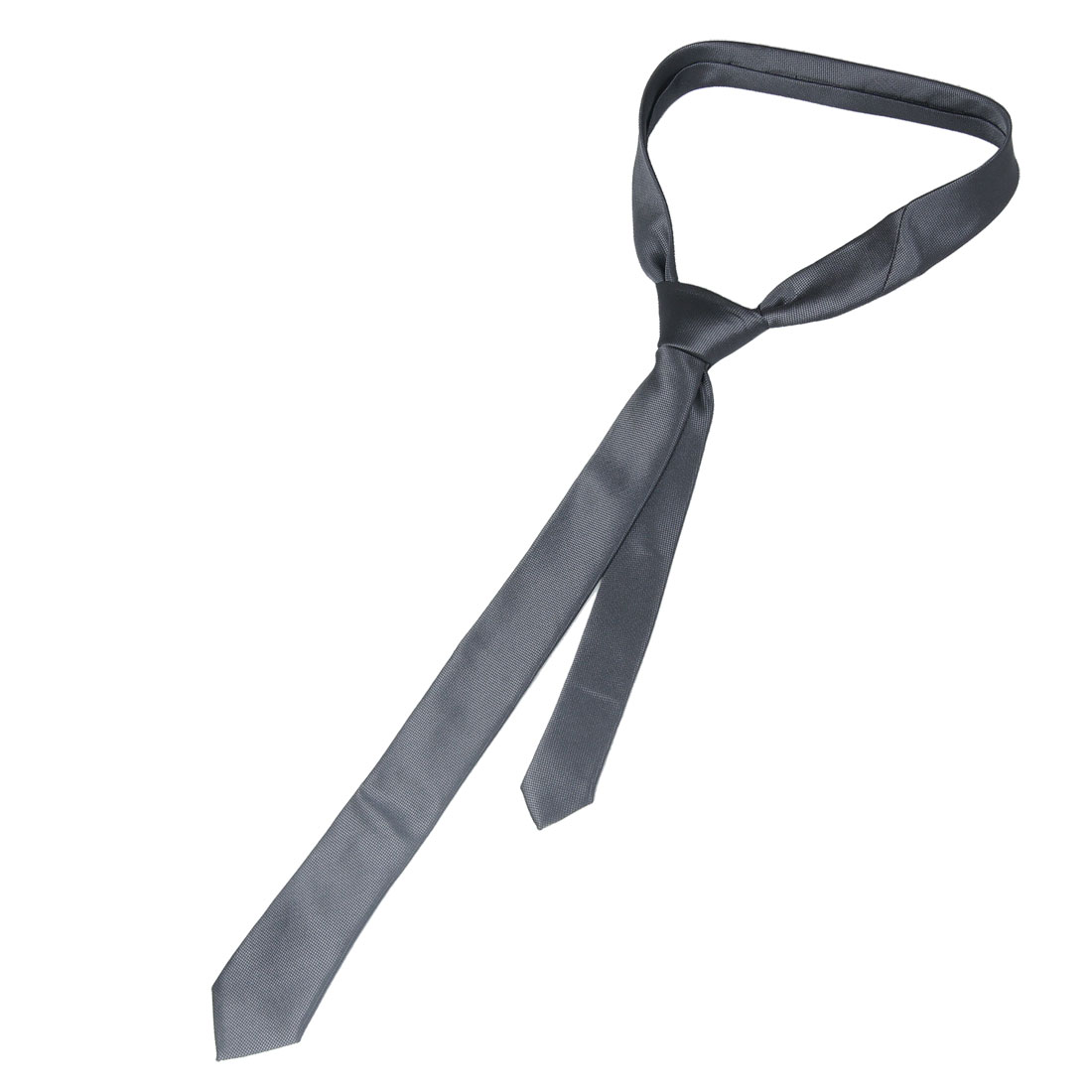 "2"" Width Checker Pattern Self Tie Skinny Necktie Gray for Woman"