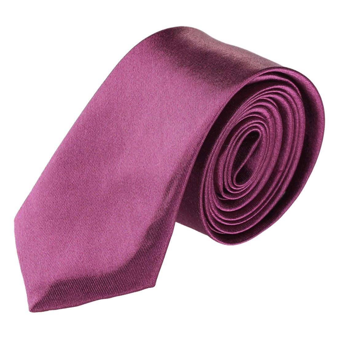 "2"" Wide 59"" Long Self Tie Skinny Necktie Fuchsia for Ladies"