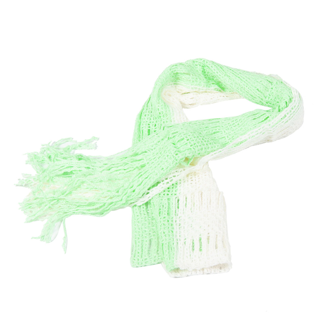 Winter Green White Tassel Knitted Warm Scarf Shawl Wrap for Women