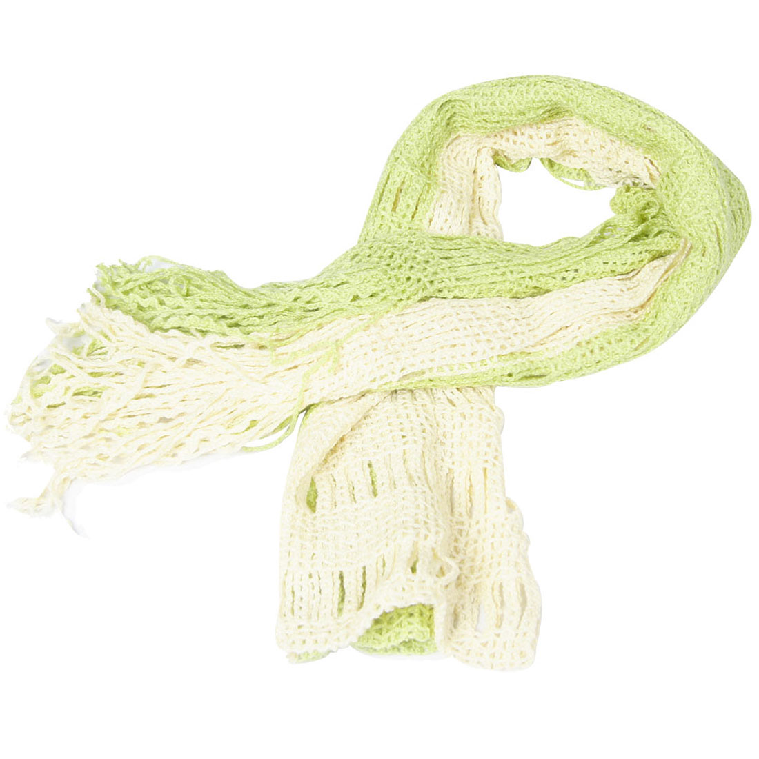 Lady Winter Warm Tassel Long Wrap Knitted Scarf Shawl Ivory Pale Green