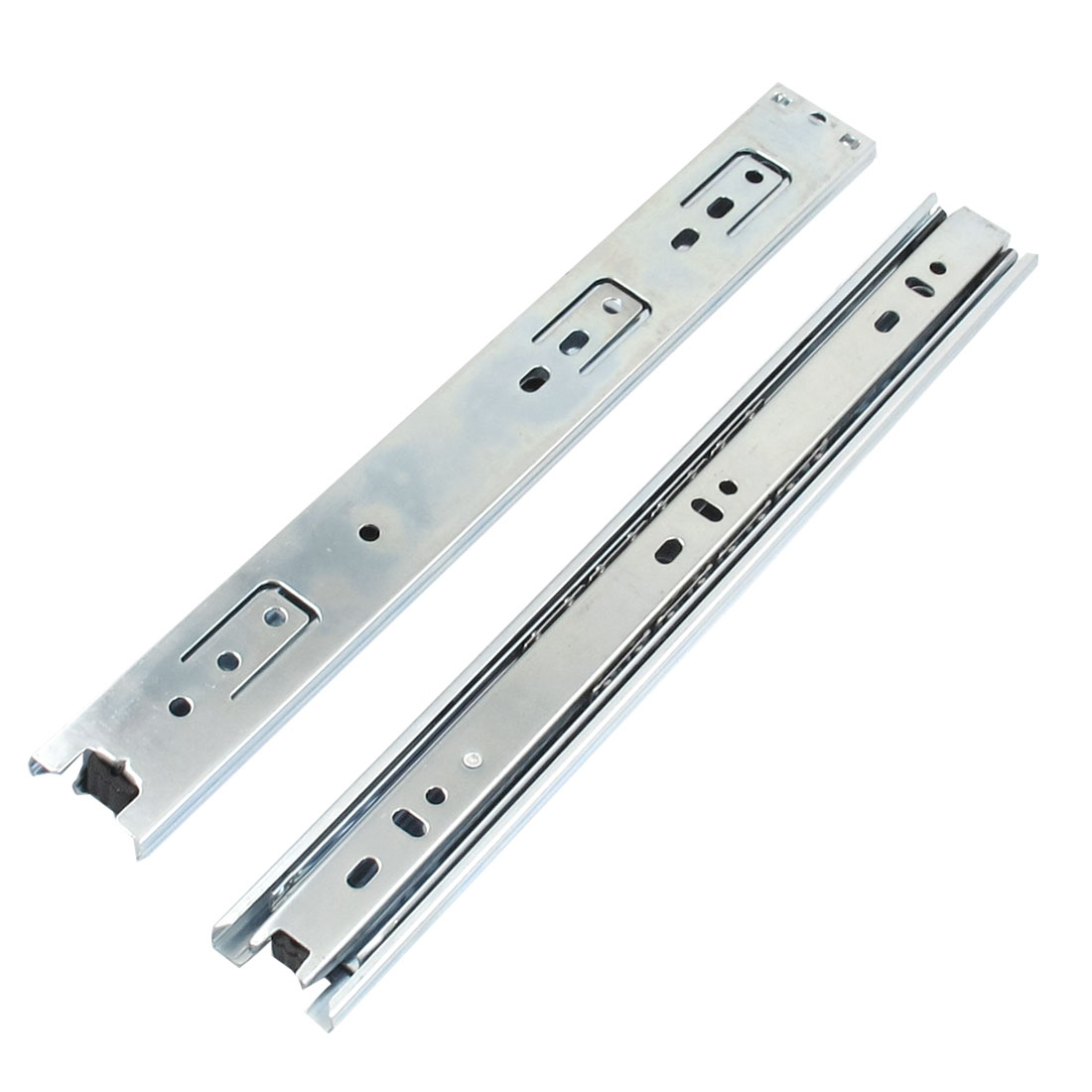 "2 Pcs 11"" 3-fold Ball Bearing Telescopic Drawer Slide Rails"