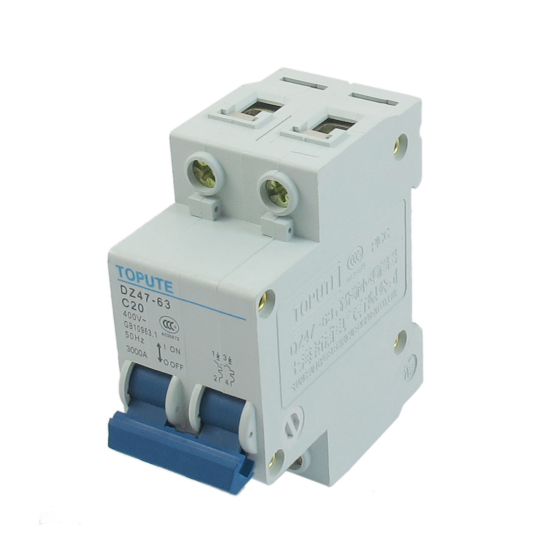 AC 400V 20A 2 Pole 3000A Breaking Capacity Overload Miniature Circuit Breaker