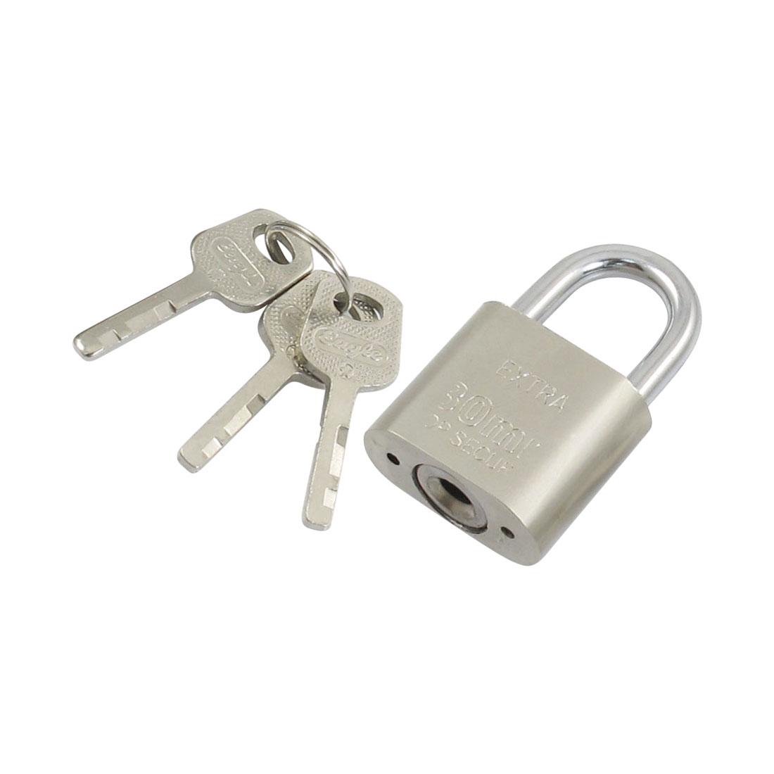 Silver Tone Security Lock Padlock for Jewlery Box w 3 Keys